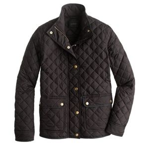 JCrew Quilted Puffer Jacket Black Gold Large L